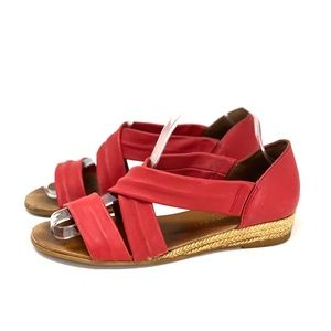Eric Michael Red Leather Sandals